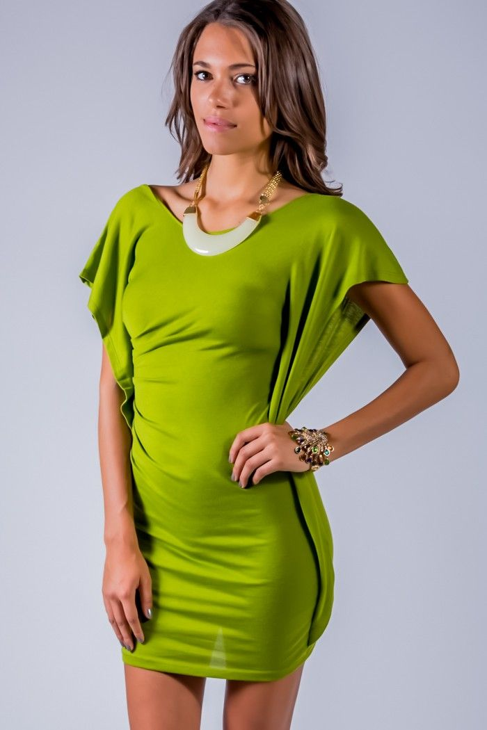 1015store.com #fashion #style lime green kimono sleeve ruched party ...