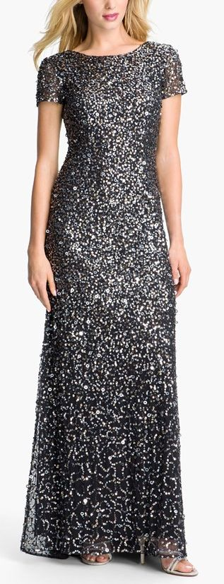 Charcoal sparkle gown by Adrianna Papell