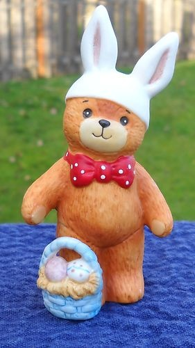 Vintage Lucy Rigg Rigglets Teddy Bear as Easter Bunny Rabbit 1979 Enesco Figurine