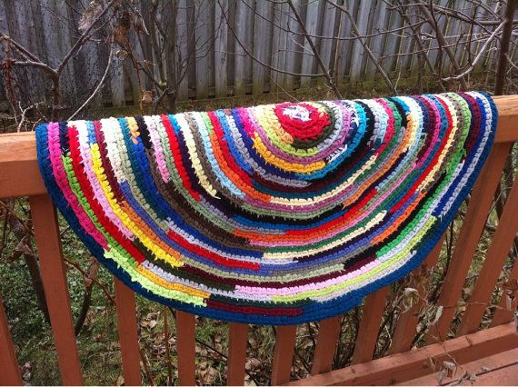 Crochet rug rag. Rug rag from recycled T-shirts. Multicolor rug rag