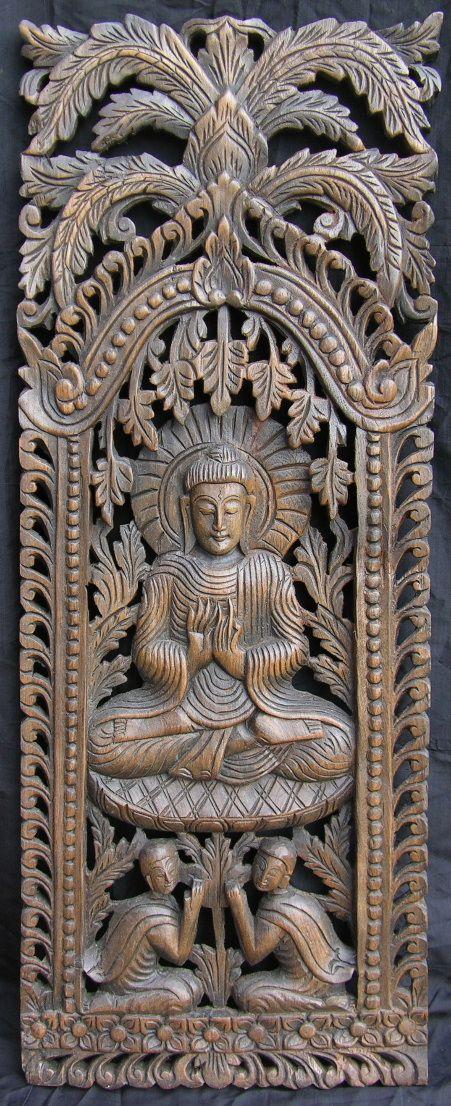 Carved teak wall panel wood carving pinterest