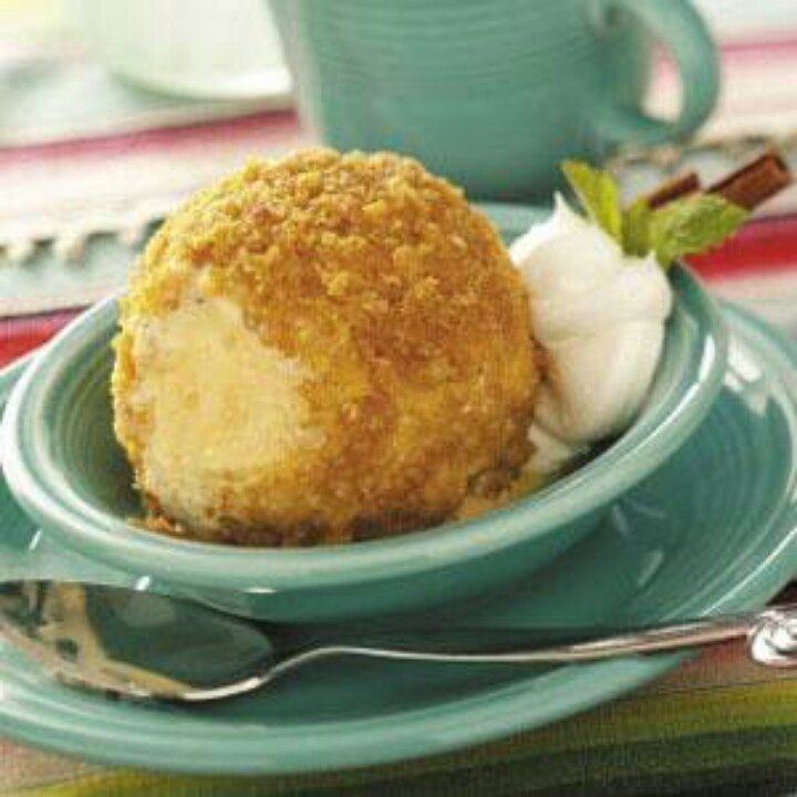 Fried Ice Cream with Cornflake Crumbs