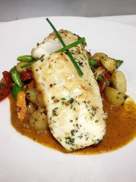 Lemon-Thyme Seared Halibut, Roasted Vegetables, Charred Carrot and ...