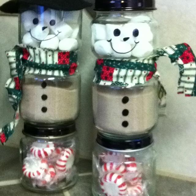 Peppermint hot cocoa snowmen gifts | Gift Ideas | Pinterest