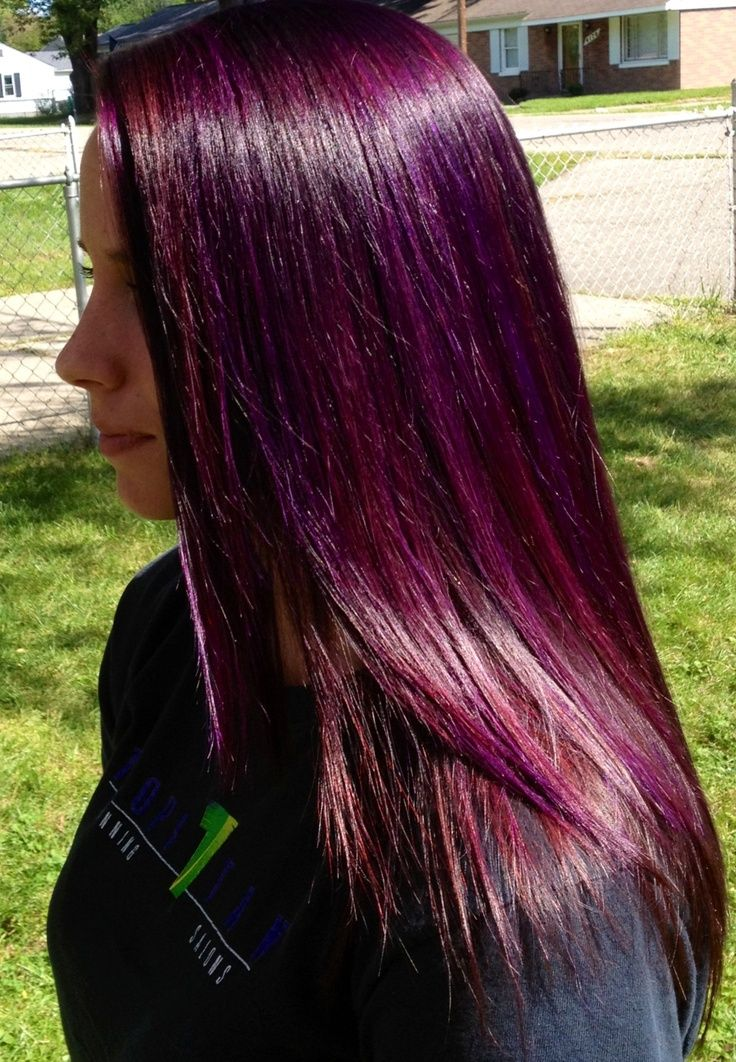 and violet highlights | Purple highlights w/ a red purple base | Hair ...