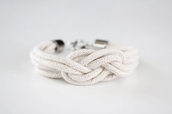 """rope knot bracelet for the bridesmaids. """"Thanks for helping me tie the knot."""" $15 from junghwa's etsy shop."""