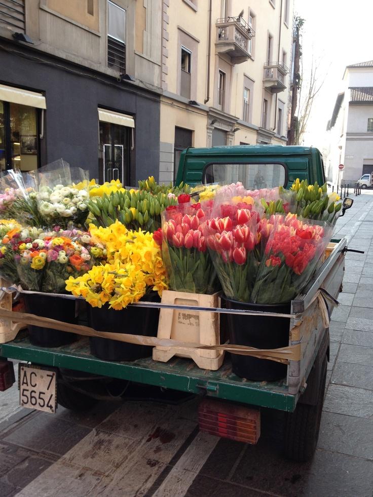 flower truck in Milan, Italy
