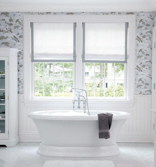 Bathroom window treatments beach bathroom pinterest