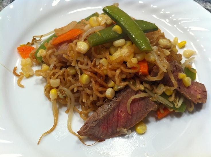 Ramen stir fry with steak | Recipes to make | Pinterest