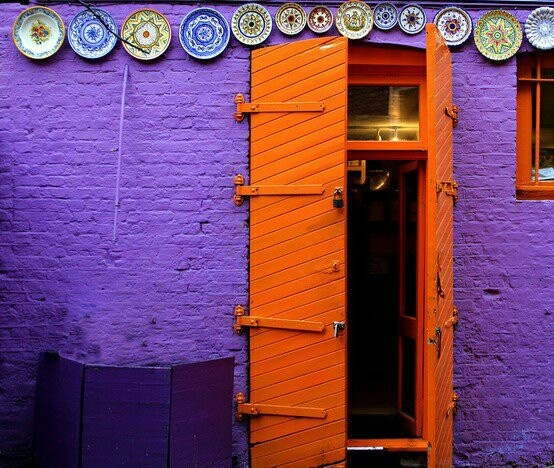 Orange Door Purple Wall Color Inspirations Pinterest