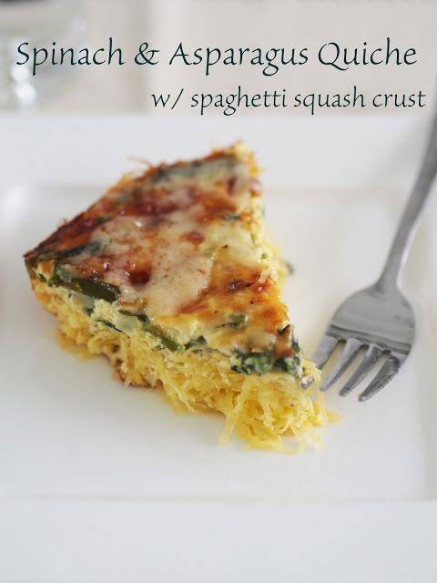 """Healthy spinach & asparagus quiche w/ spaghetti squash """"crust""""."""