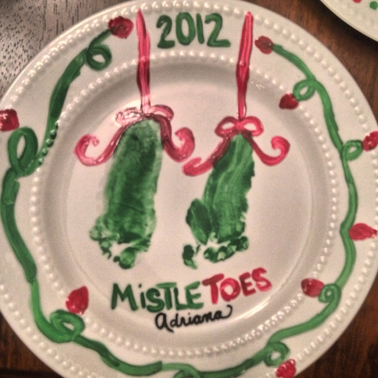 Diy Gift Mistletoes Plate With My Daughters Foot Print I