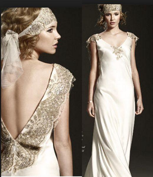 1920 Vintage Flapper Wedding Dress Style