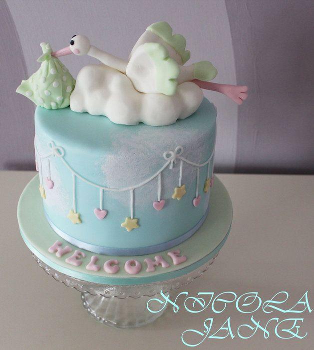 Baby shower cake w stork baby shower cake pinterest for Baby shower cakes decoration
