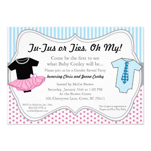 tutus ties gender reveal baby shower invitation