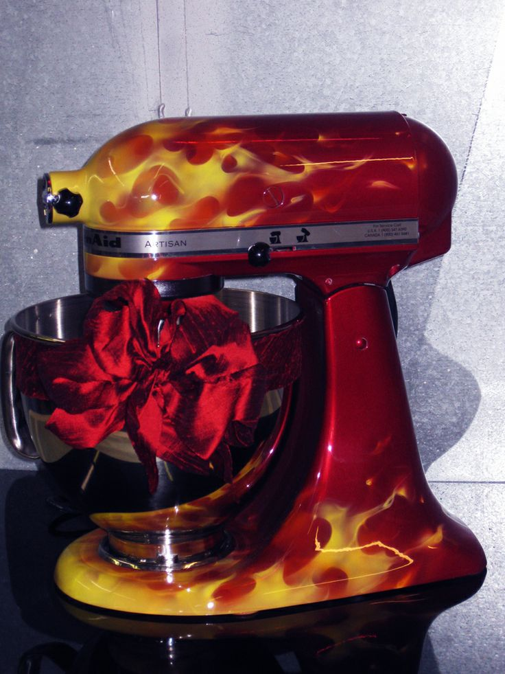 True fire kbc apple red custom artwork only mixer not included - Decorated kitchenaid mixer ...