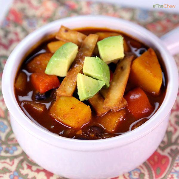 Vegetarian Butternut Squash Chipotle Chili with Avocado | Recipe