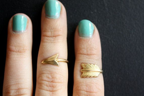 Knuckle Adjustable Arrow Ring Set by ChristineDomanic - NEED!