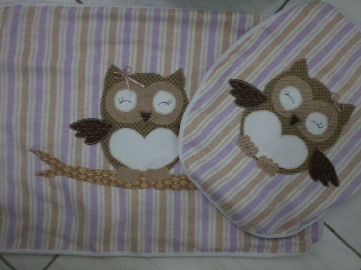 Juegos De Baño Drapeados:Jogo de banheiro em tecido coruja