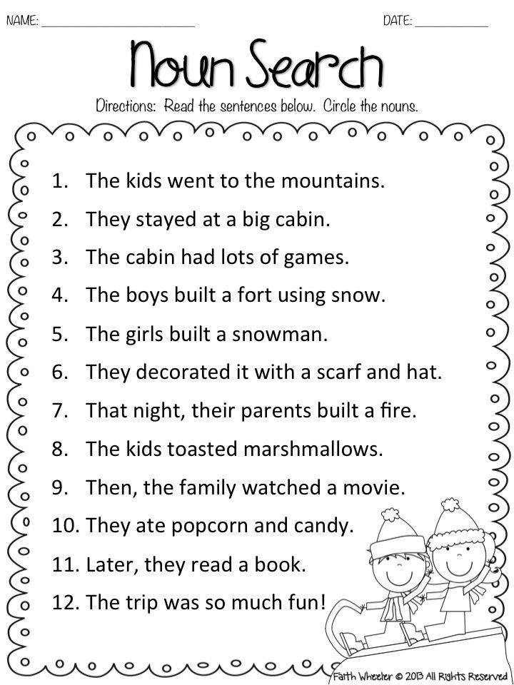 Common nouns worksheet year 3