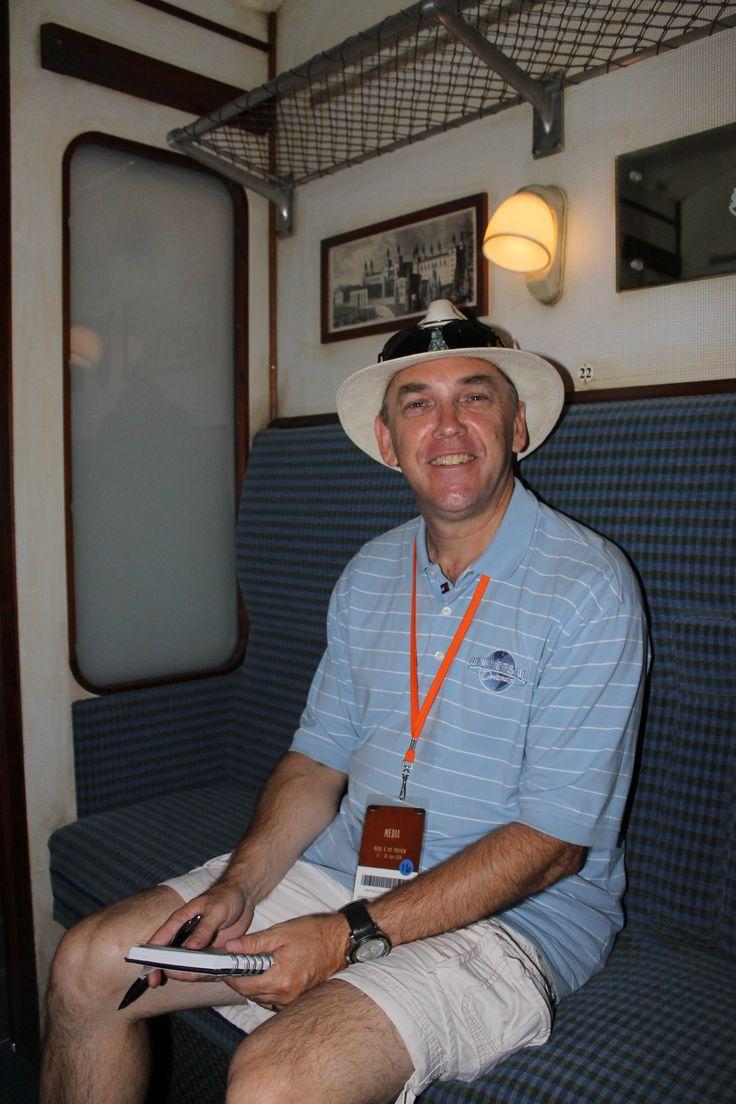 Simon Veness aboard the Hogwarts Express