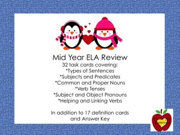 Mid Year ELA Review Task Cards (Penguin) Grade 3-5