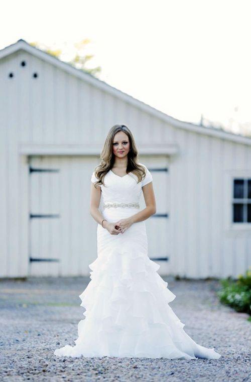 Modest Ruffle Wedding Dresses : Modest trumpet ruffle wedding dress avenia bridal brides