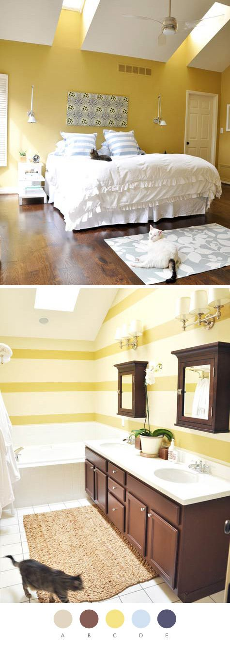 """Navy, yellow, blue and tan ...when paired with rich brown floors and furniture, the colors really pop."""