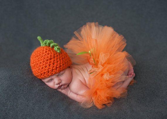 newborn crochet pumpkin set tutu outfit photography prop hat beanie f
