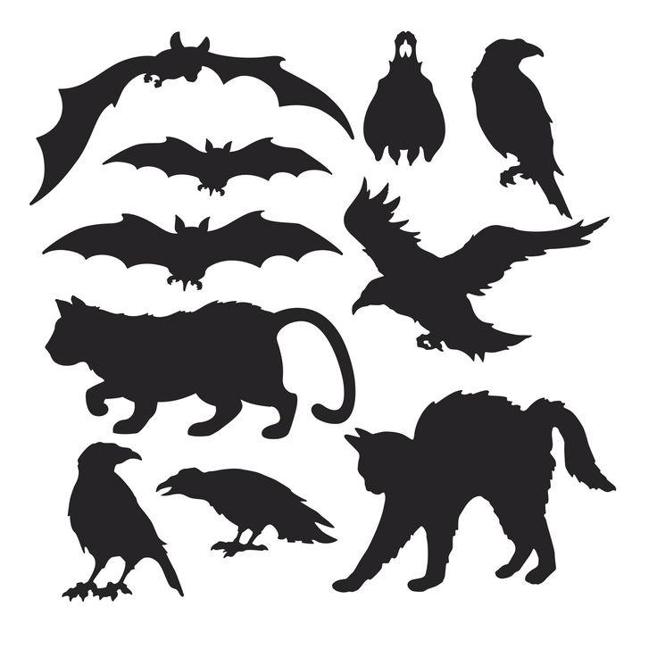 すべての折り紙 ハロウィン 折り紙 : Halloween Silhouette Cutouts