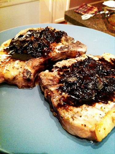 Pork Chops with Maple Balsamic Pan Sauce #paleo