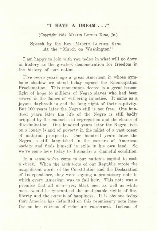 Famous speech transcript