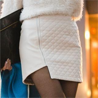 GUMZZI - Faux-Leather Asymmetric-Hem Quilted Miniskirt