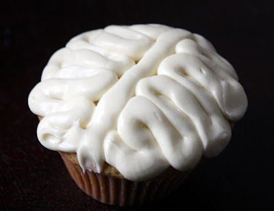 BRAIN cupcakes! Take them to your next Zombie-themed Halloween Party!