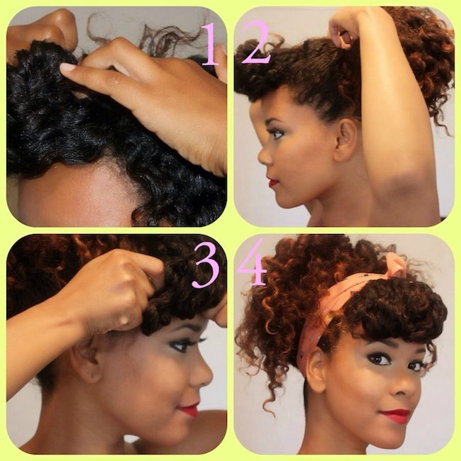 1. Part a small section in front for your bang, and pin it up.  2. Put the rest of your hair in a high ponytail.  3. Take down your bangs, and roll any access hair under and pin.  4. Finish with a head scarf, I wrapped it once and tied it into a bow.