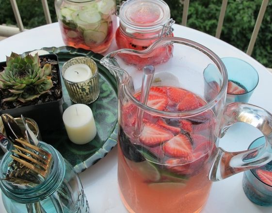 Rose` Sparkler with Thai Basil and Strawberries - Nourish Blog