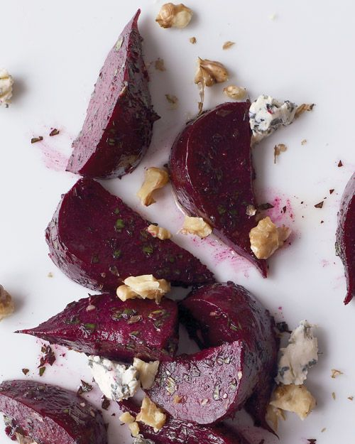 Roasted beats with blue cheese and walnuts