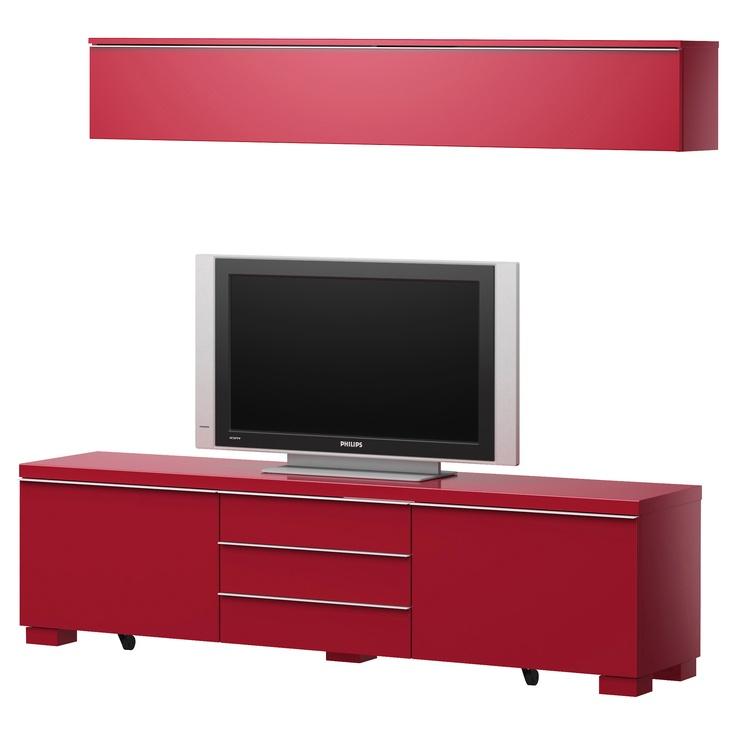 Besta Burs Wall Shelf Red : BEST? BURS TVstorage combination  high gloss red  IKEA