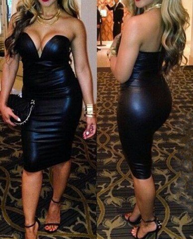 Sexy Strapless Sleeveless Solid Color Faux Leather Women's Dress
