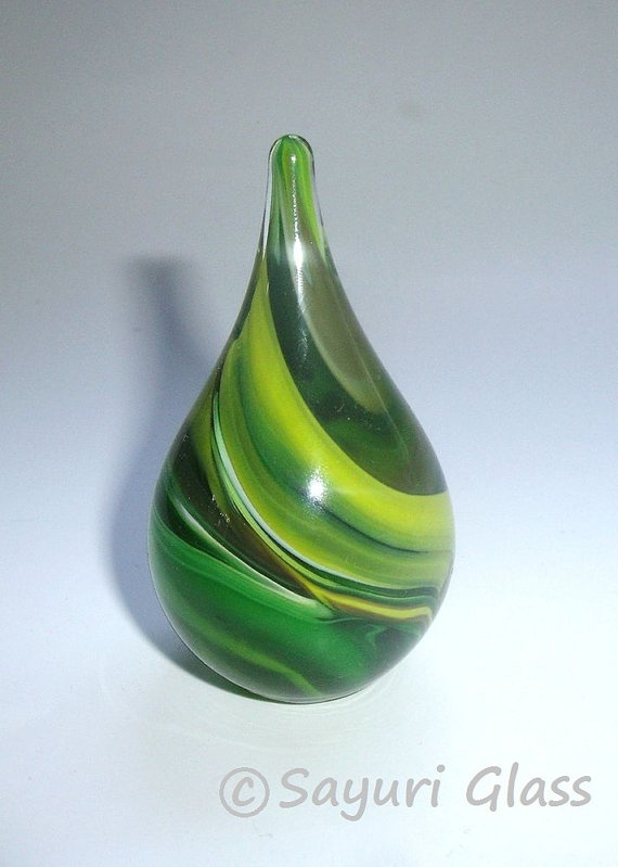 Paperweight / Ring Holder  Assorted Green Swirl  by SayuriGlass, $18.00
