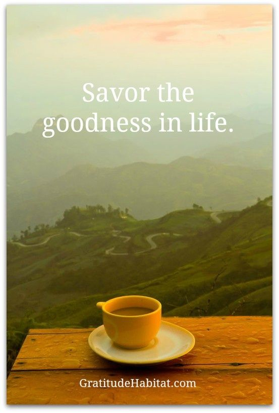 Savor the goodness in life.