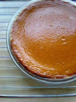 Pumpkin pie with press-in shortbread crust. Easy and really delicious.