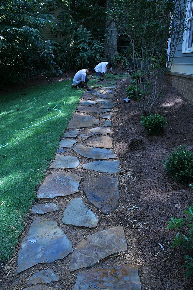 stone walkway outdoor living ideas pinterest