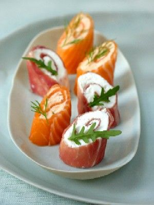 Smoked salmon & air-dried ham roulades--try with Ama no To Heaven's Door