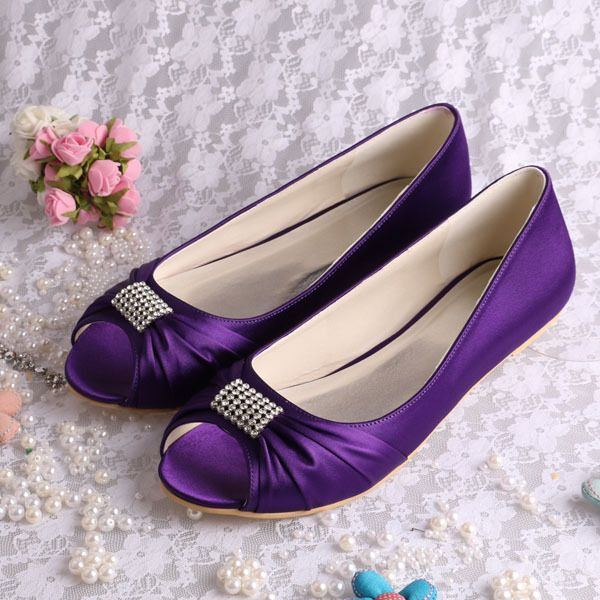 Open toe Bridal Wedding Shoes Ballet Flats, also in blue $39.51