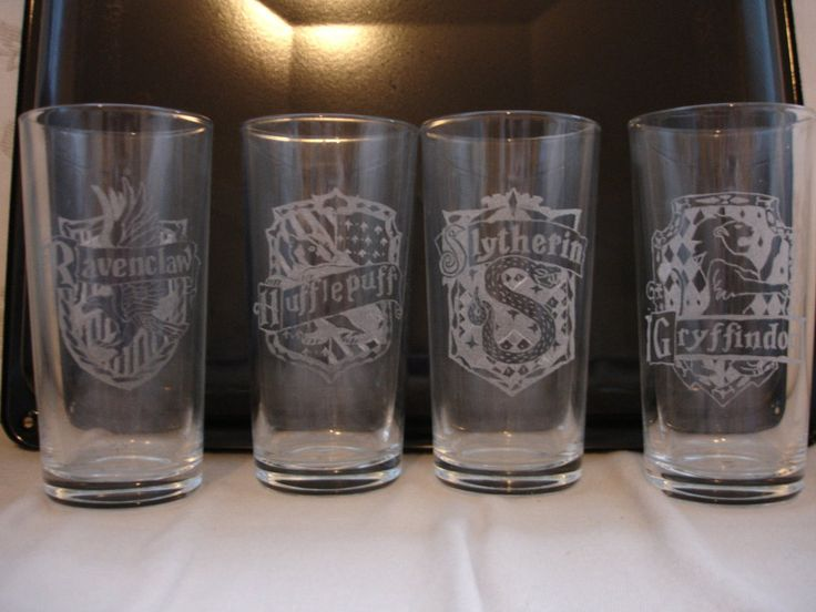 HP house crest etched glasses