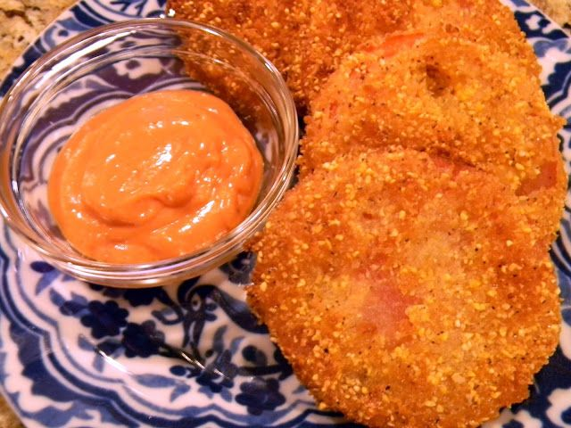 schue love: Fried Tomatoes with Spicy Sriracha Sauce