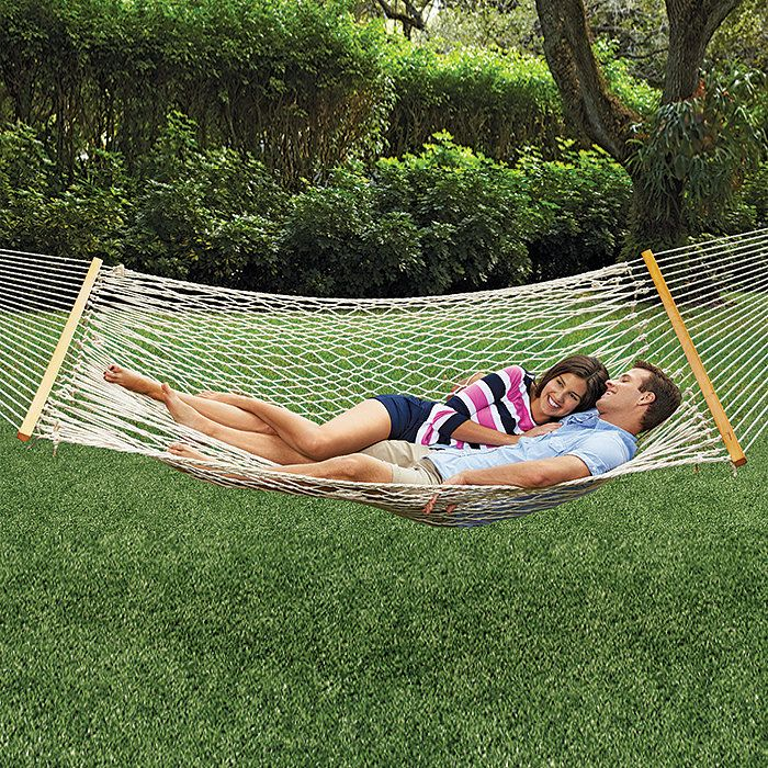 Backyard Hammock Ideas : 99 delivered for Oversized Cotton Rope Hammock @ Brookstone  Hot