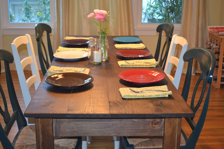 Farmhouse table with fiesta ware home decor pinterest Narrow farmhouse table plans