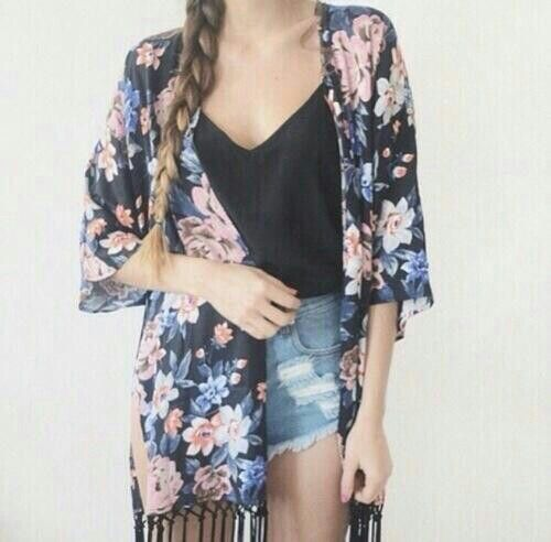 Cute outfit with kimono | Pretties | Pinterest